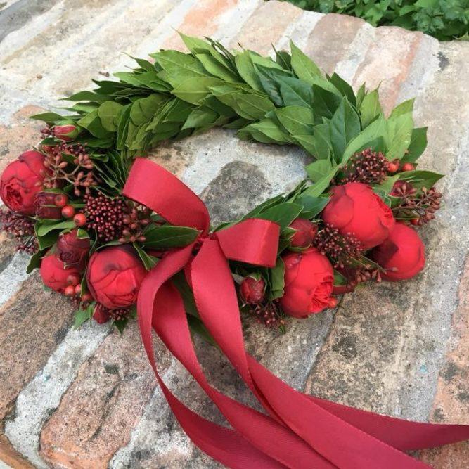 Coroncina Alloro con bacche e fiori