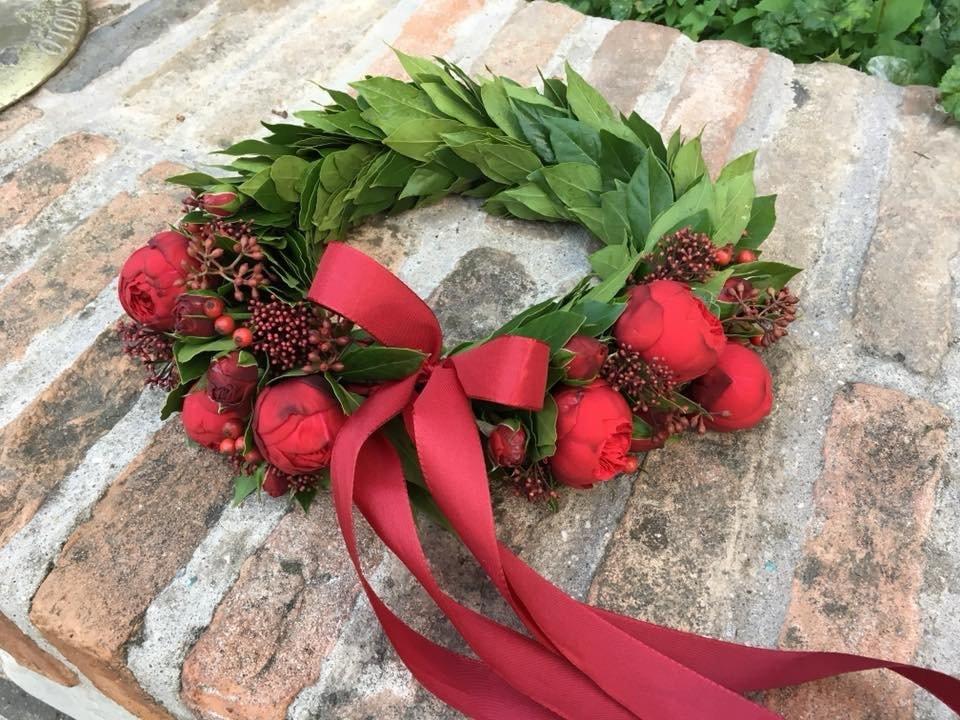 Fiori Con La E.Coroncina Alloro Con Bacche E Fiori Signorelli Flowers Coffee