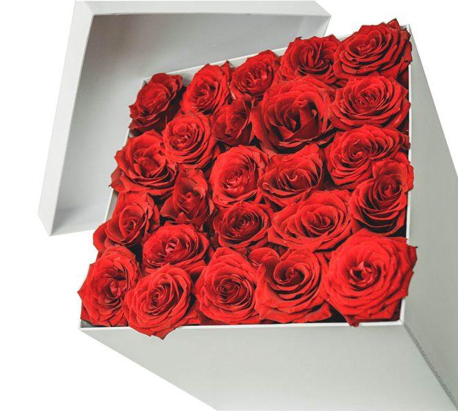 Scatola piccola solo rose 25 steli (5)
