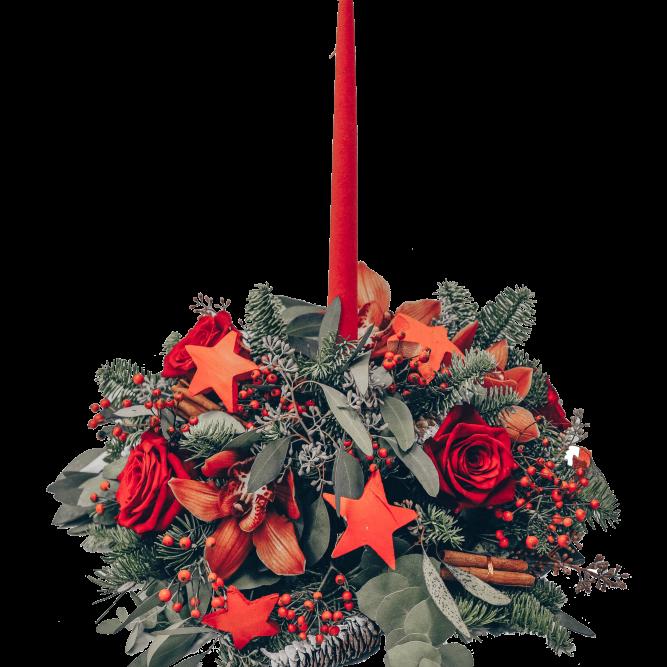centrotavola rosso candela rossa