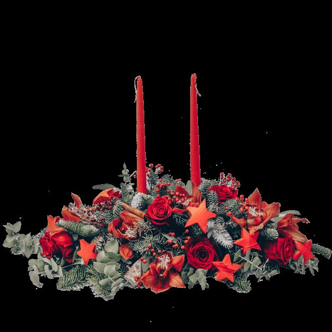 centrotavola rett rosso candela rosso