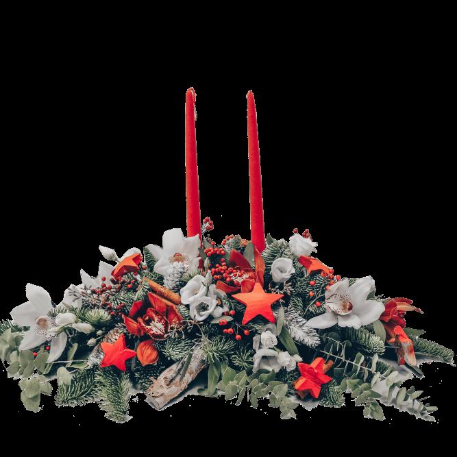 centrotavola rett r/b candele rosse